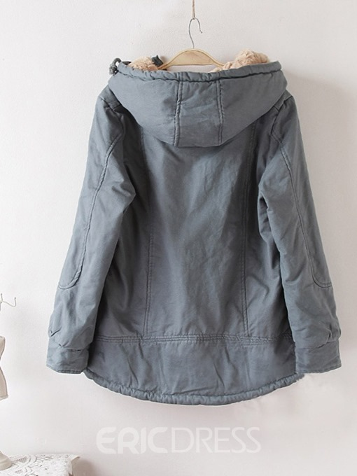 Ericdress Zipper Thick Straight Standard Cotton Padded Jacket