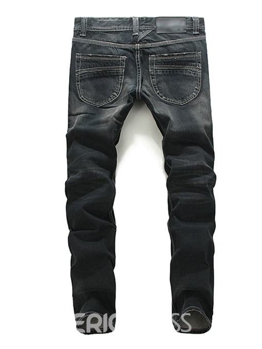 Ericdress Plain Straight Worn Zipper Mens Casual Jeans