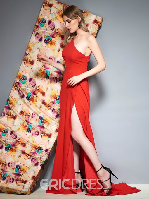 Ericdress One Shoulder Mermaid Red Prom Dress 2019