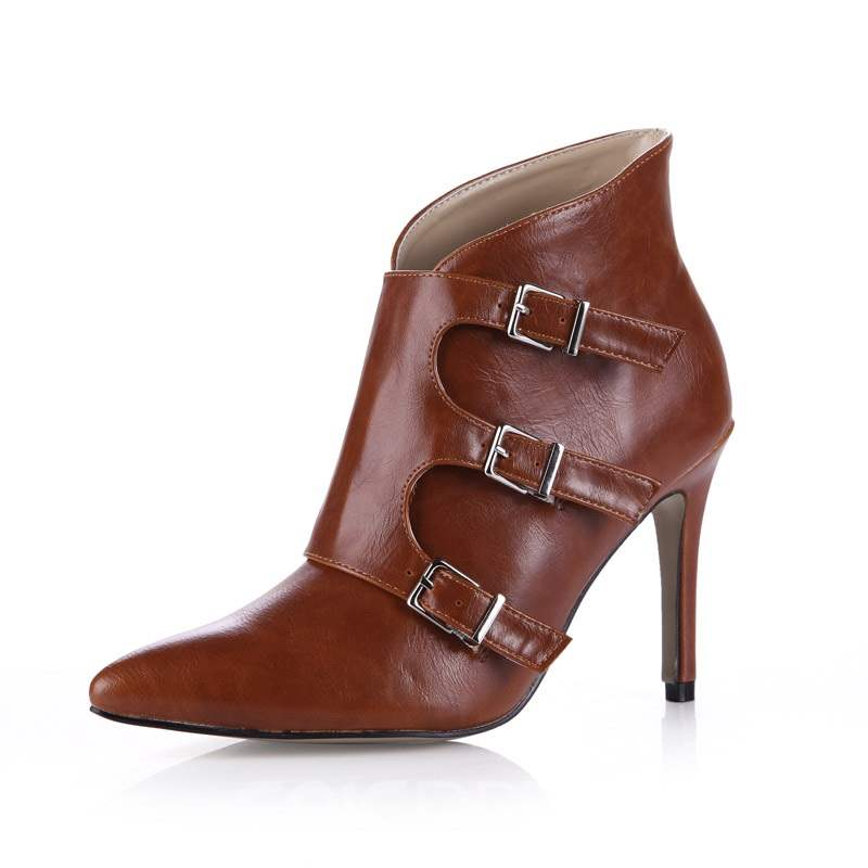 Ericdress Buckle Pointed Toe Stiletto Heel Women's Ankle Boots