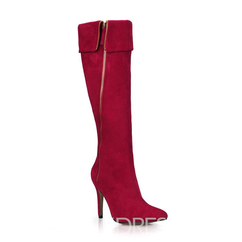 Ericdress Side Zipper Pointed Toe Stiletto Heel Women's Boots