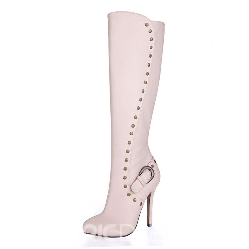 Ericdress Rivet Side Zipper Round Toe Stiletto Heel Women's Boots