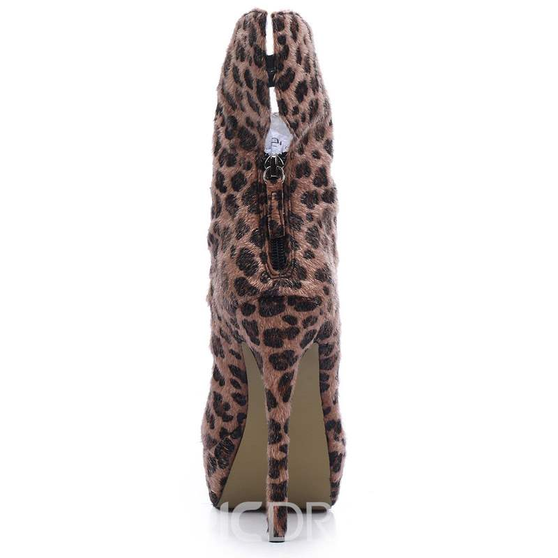 Ericdress Leopard Print Round Toe Back Zip Stiletto Heel Women's Boots