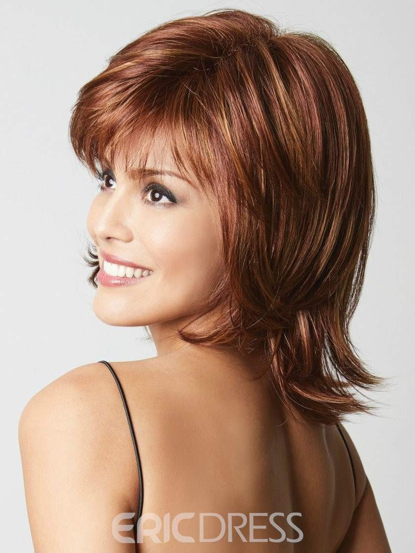 Ericdress Layered Hairstyle with Full Fringe Middle Length Synthetic Capless Women Wigs 14 Inches