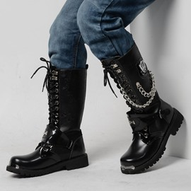 Ericdress Chain Plain Lace-Up Front Men's Martin Boots
