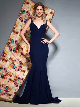 Ericdress Straps Backless Mermaid Evening Dress 2019