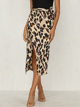Ericdress Mid-Calf Straight Leopard High-Waist Casual Skirt
