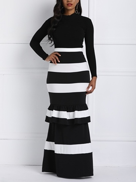 Ericdress Patchwork Stripe Ankle-Length Casual Standard Waist Skirt