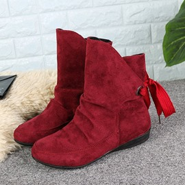 Ericdress Lace-Up Back Round Toe Women's Ankle Boots