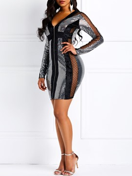 Ericdress Long Sleeve See-Through V-Neck Sequins Dress