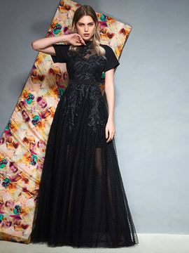 Ericdress Short Sleeve High Neck Black Prom Dress 2019