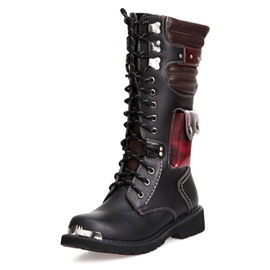 Ericdress Patchwork Round Toe Lace-Up Front Men's Martin Boots