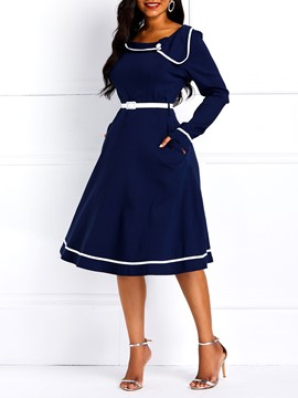 ericdress langärmliges, knielanges navy a-line-kleid