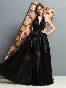 Ericdress A Line Halter Beaded Backless Black Evening Dress