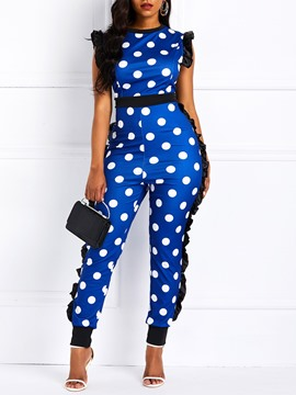 Ericdress Polka Dots High-Waist Stretchy Patchwork Women's Jumpsuits