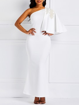 Ericdress Lace Patchwork Oblique Collar Floor-Length One-Shoulder White Dress