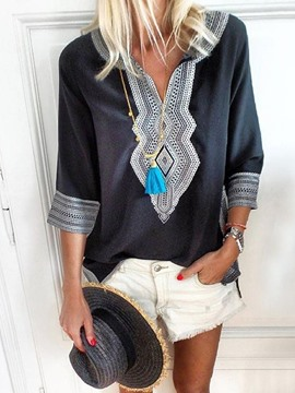 Ericdress Mid-Length Geometric Three-Quarter Sleeve Ethnic Loose T-Shirt