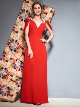 Ericdress Sheath V Neck Beaded Cap Sleeve Red Evening Dress 2019