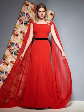 Ericdress Bateau Neck Red Mermaid Evening Dress