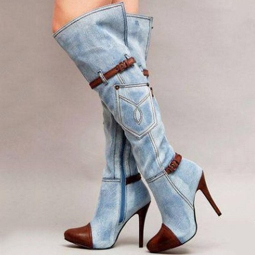 Ericdress Denim Patchwork Stiletto Heel Knee High Boots