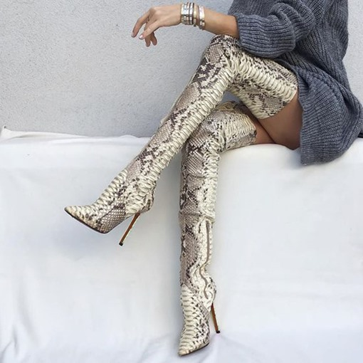 Ericdress Serpentine Pointed Toe Stiletto Heel Thigh High Boots