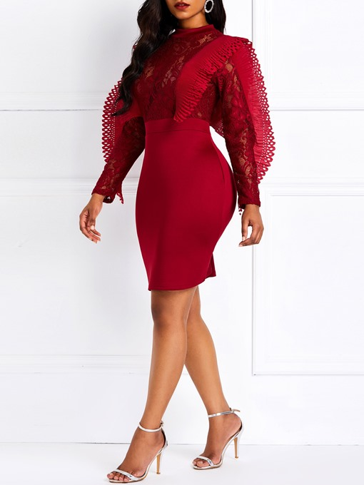 Ericdress Lace Long Sleeves Stand Collar Decorative Sleeves Dress
