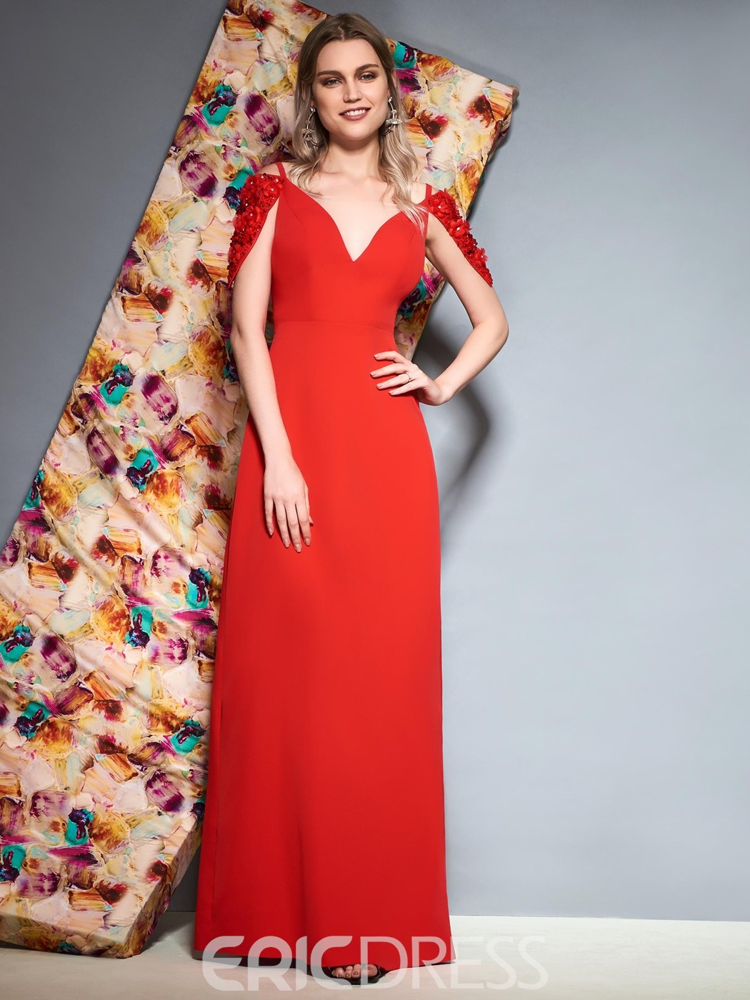 Ericdress Sheath V Neck Beaded Cap Sleeve Red Evening Dress