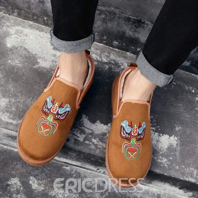 Ericdress Embroidery Slip-On Round Toe Men's Winter Shoes