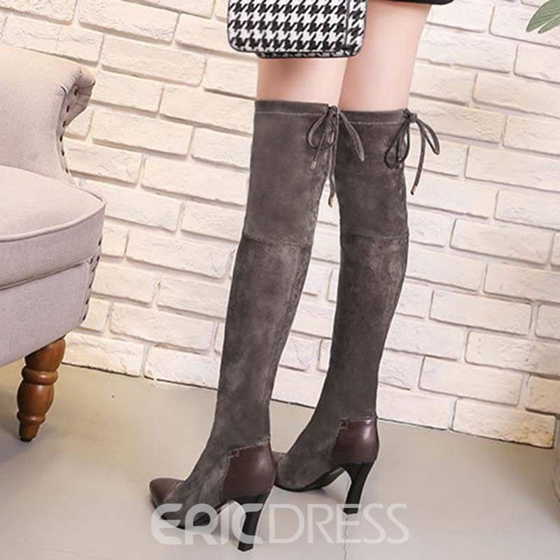 Ericdress Color Block Pointed Toe Lace-Up Back Knee High Boots