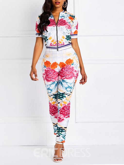 Ericdress Floral Print Floral Zipper Stand Collar Jacket and Pants Two Piece Sets