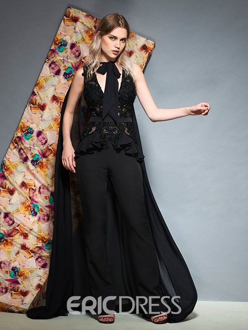 Ericdress Sheath V Neck Beaded Evening Jumpsuit With Cape 2019