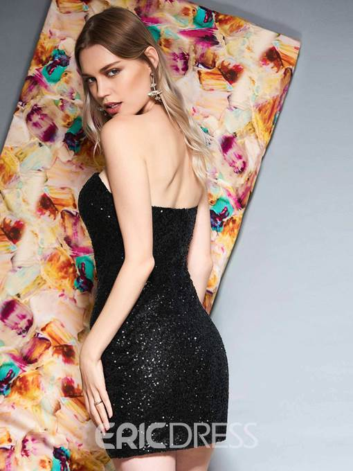 Ericdress A Line Strapless Sequin Print Evening Dress 2019