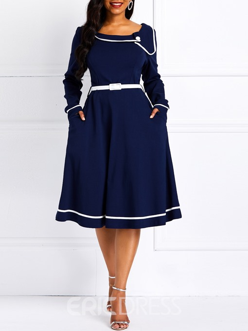 Ericdress Long Sleeve Knee-Length Navy A-Line Dress