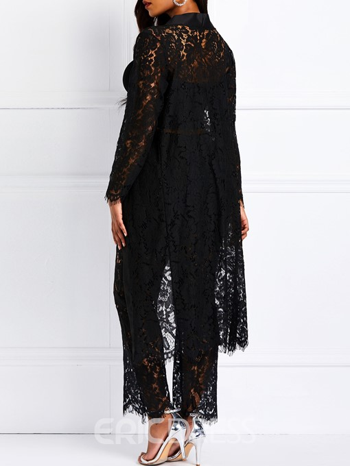 Ericdress Lace Patchwork See-Through Coat and Pants Two Piece Sets
