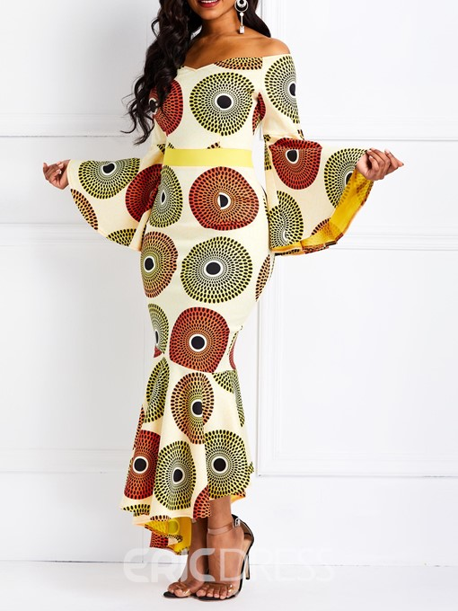 Ericdress African Fashion Floor-Length Ankara Color Block Mermaid Dress