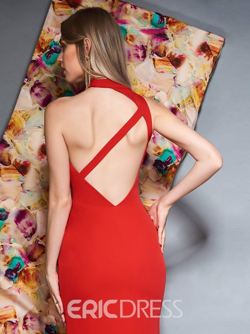 Ericdress Halter Red Mermaid Evening Dress 2019