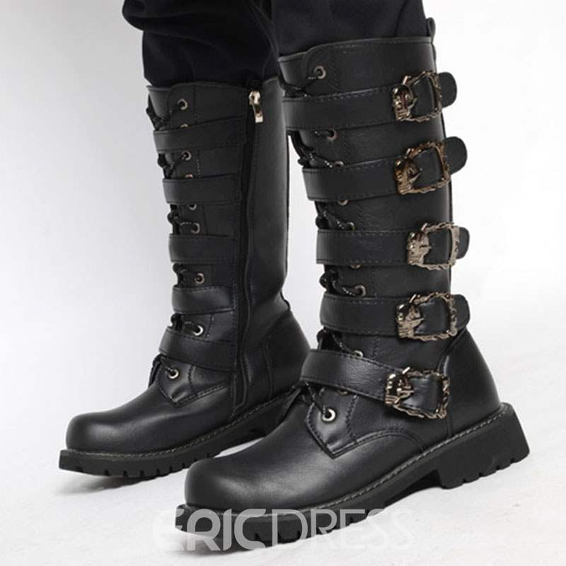 Ericdress Plain Side Zipper Round Toe Men's Boots