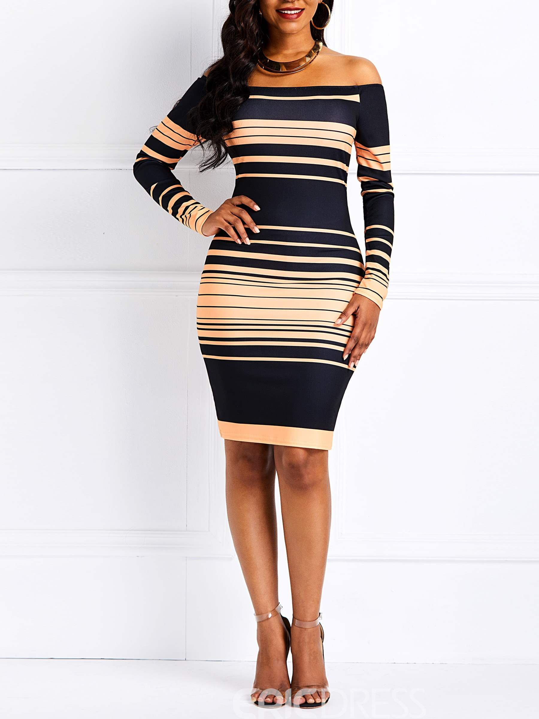 Ericdress Stripe Long Sleeve Knee-Length Bodycon Dress