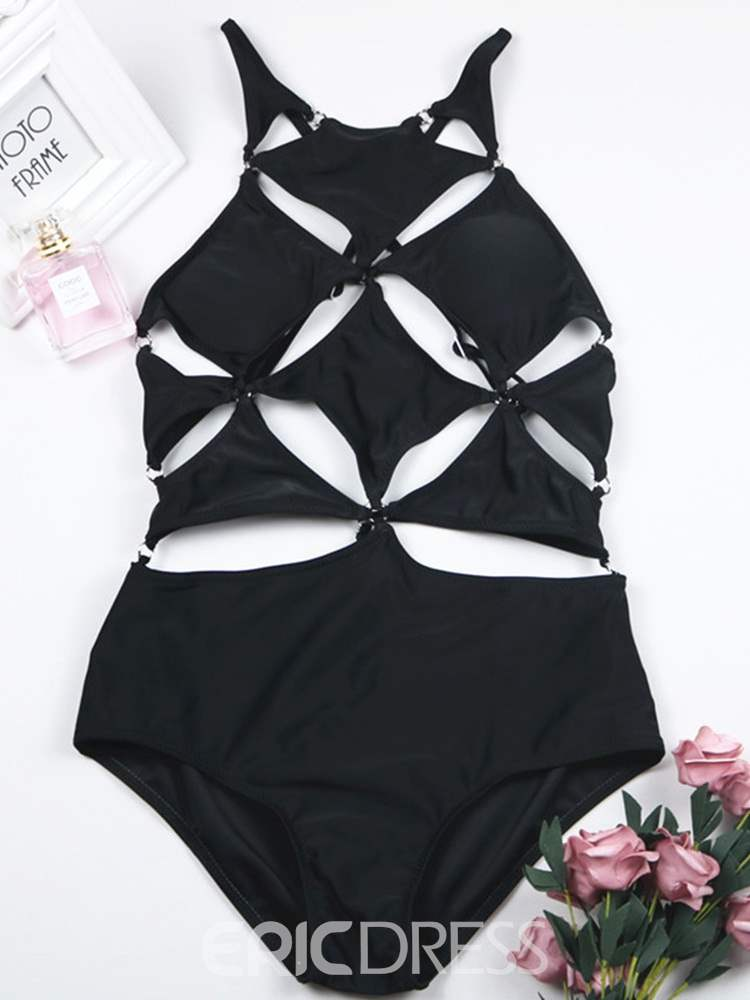 Ericdress Plain Sexy Hollow Swimwear