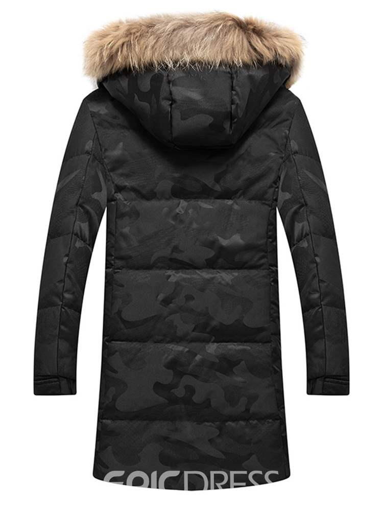 Ericdress Camouflage Mid-Length Zipper Mens Down Jacket
