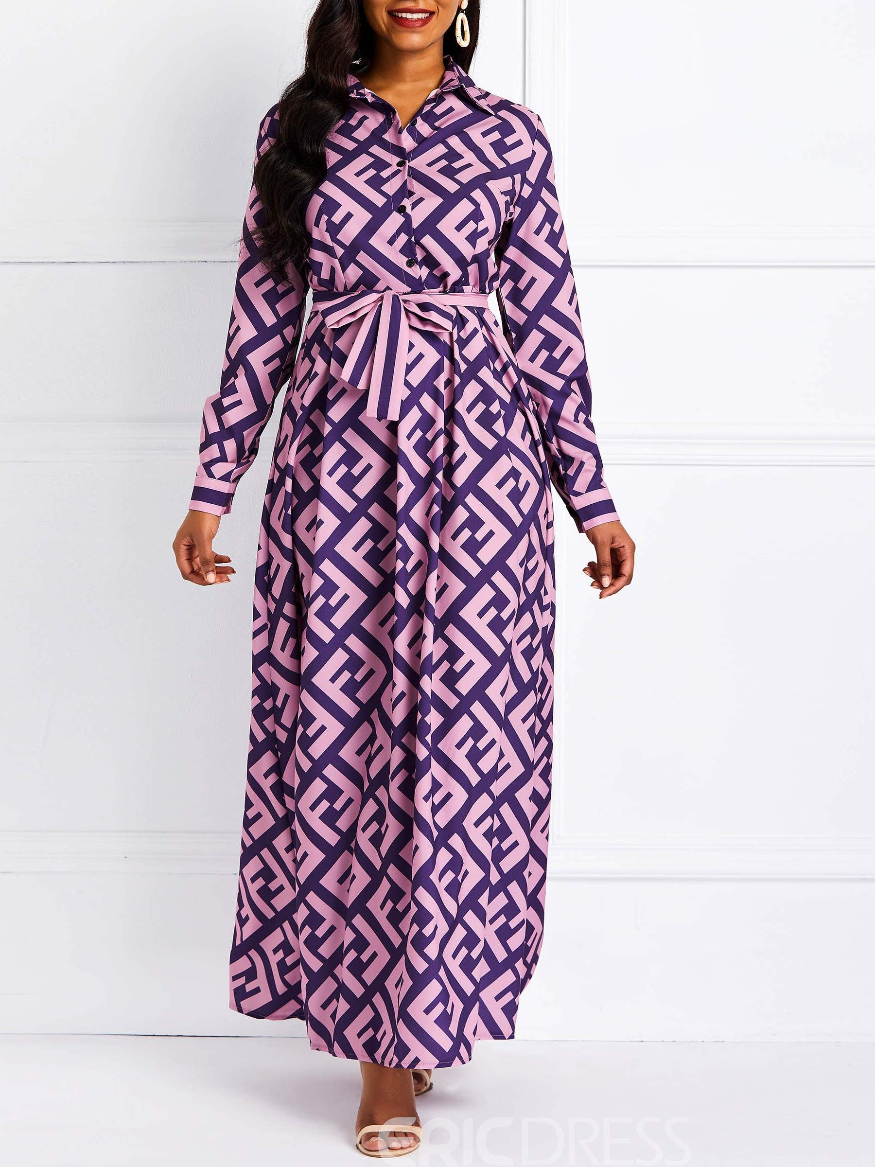 Ericdress Ankle-Length Print Long Sleeve Single-Breasted Dress