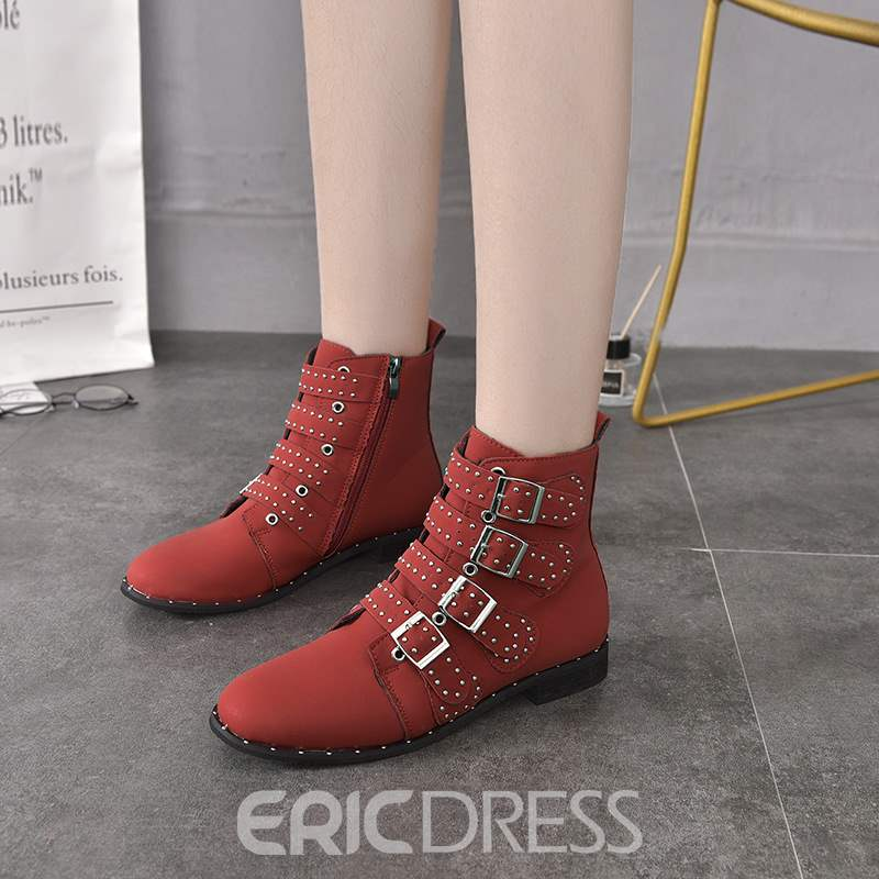 Ericdress Rivet Round Toe Side Zipper Women's Boots