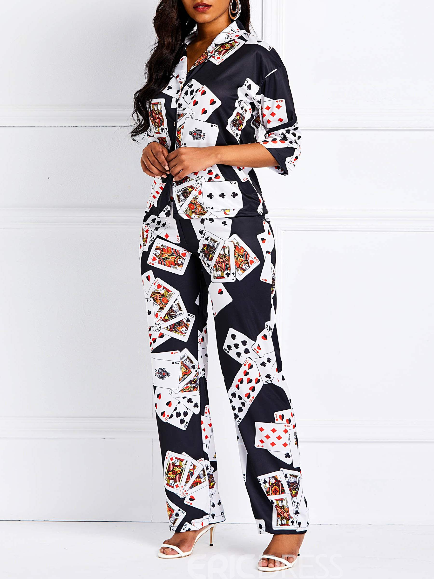 Ericdress Color Block Poker Straight Loose Shirt and Pants Two Piece Sets