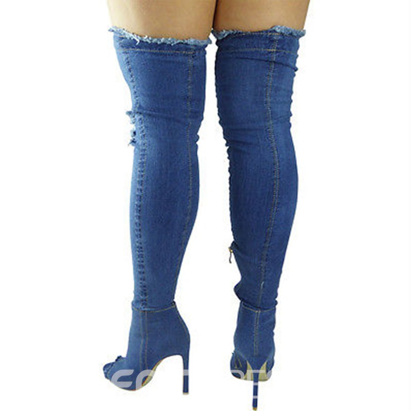 Ericdress Denim Side Zipper Peep Toe Women's Knee High Boots