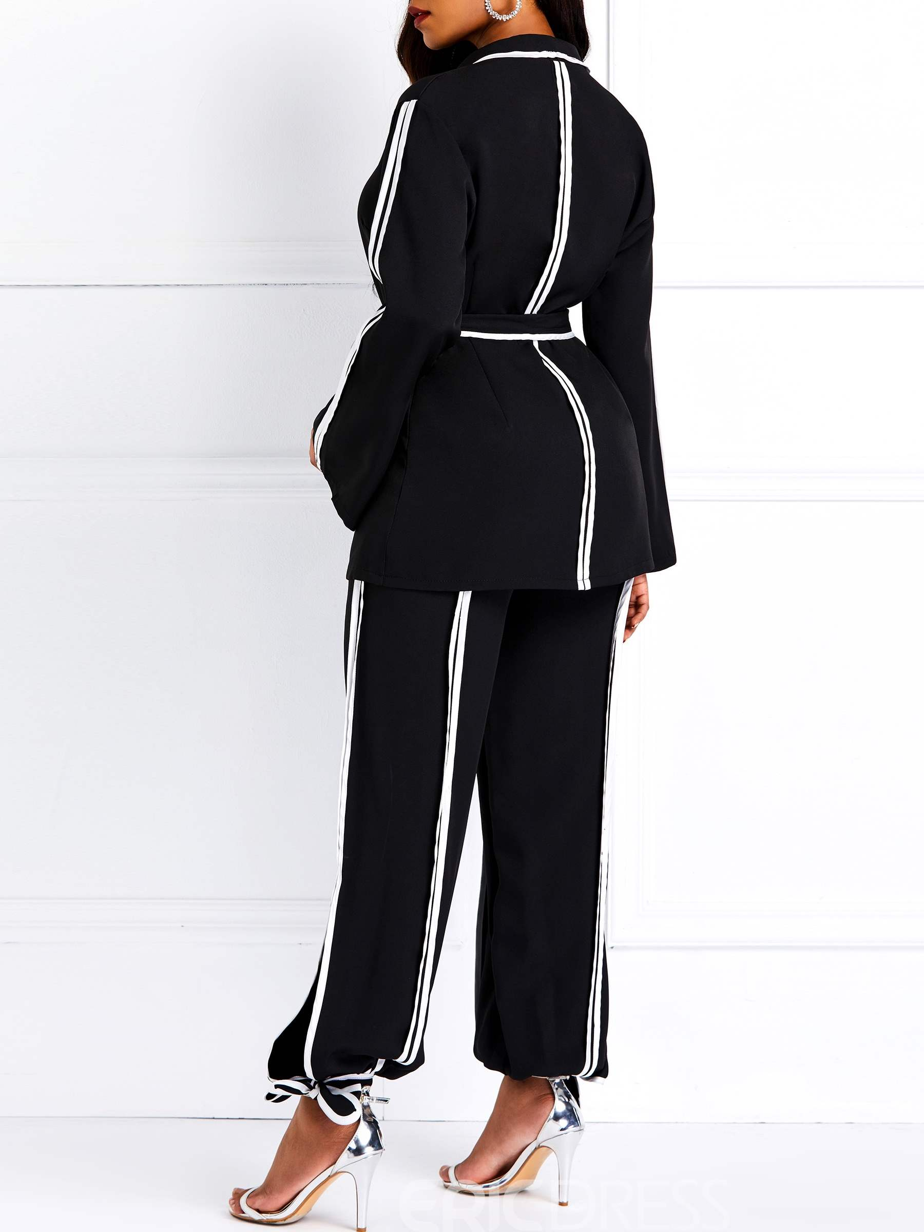 Ericdress Color Block Bunch of foot Lace-Up Coat and Pants Two Piece Sets