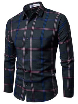 Ericdress Plaid Lapel Slim Mens Casual Shirt