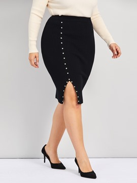 Ericdress Plus Size Knee-Length Plain Bodycon Casual Skirt