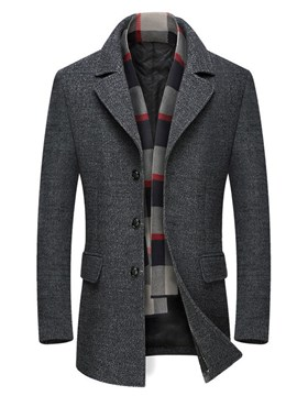 Ericdress Plain Slim Notched Lapel Mens Winter Woolen Coat