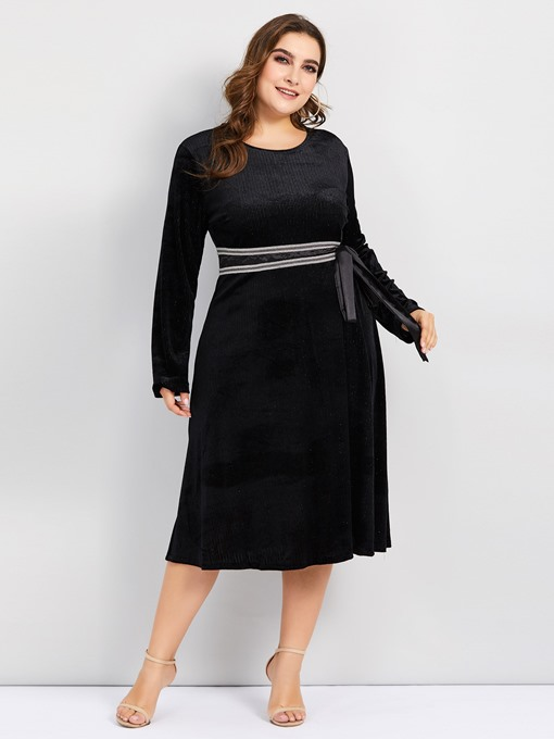 Ericdress Plus Size Lace-Up Round Neck Knee-Length Elegant Pullover Dress