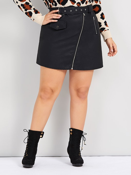 Ericdress Plus Size Plain Mini Skirt Straight Casual Skirt